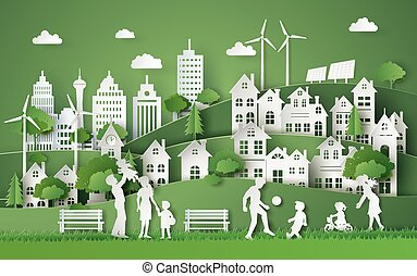 illustration of eco and world environment day with happy family. paper art style.