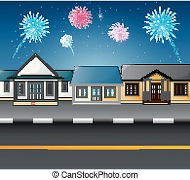 Urban countryside landscape with fireworks in the sky