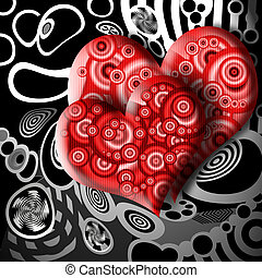 Urban Couple - Elegant Couple of Red Hearts Symbols over...