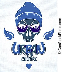 Urban culture style skull in sunglasses vector logo or...
