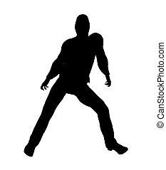 Urban Dance Illustration Silhouette - Urban male dancer...