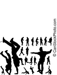 Urban dancers - Twenty black silhouettes of urban dancing...