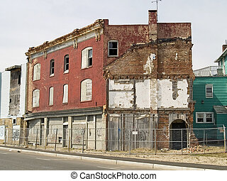 A row of some condemned buildings in Asbury Park New Jersey.