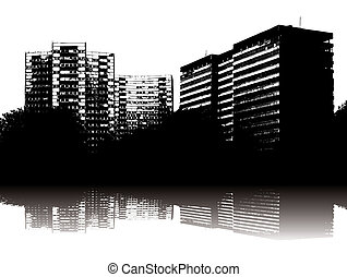 urban delight - Illustration of an urban scene in black and...