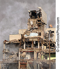 Urban Destruction,a partially demolished building in a...