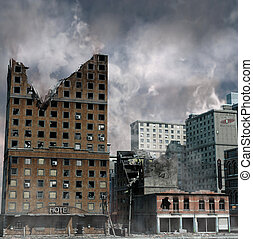 Urban Destruction, illustration of the aftermath of a ...