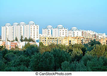Urban development. Center of the city of Portimao in Portugal.