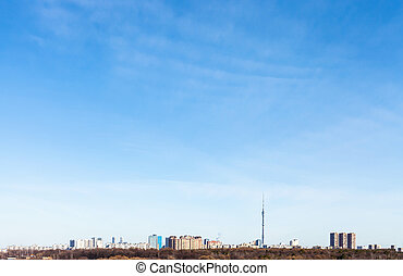 urban district under blue sky in early spring