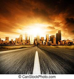 Urban Doom - Motion blurred road heading into the city