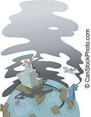 Urban Earth Pollution - Illustration of Earth showing an...