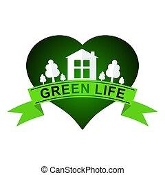 Urban ecology. Green life logo. Flat concept.