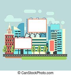 Urban empty advertisement billboards in flat city vector illustration