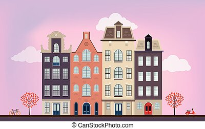 Urban european houses in different architectural styles and colors. Detailed flat vector picture.