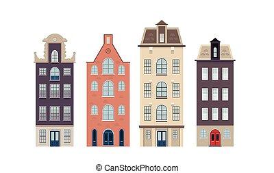 Urban european houses on the white background
