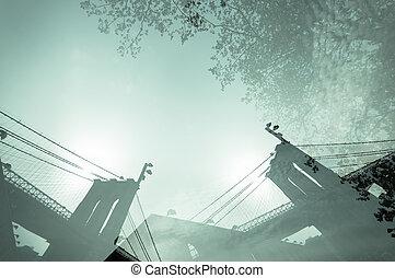 Urban experience - Double exposure photograph of Manhattan...