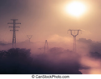 urban foggy sunrise