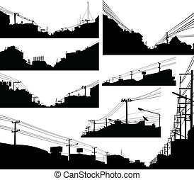 Set of detailed editable vector silhouettes of urban streets