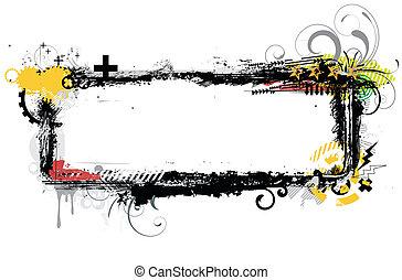 urban frame - illustration of urban floral background with...