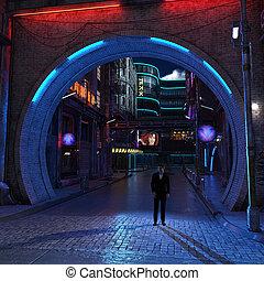 Urban futuristic city night view 3d render