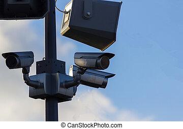 urban, garanti, kamera video, udendørs