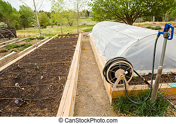 Urban vegetable garden is ready for planting in Spring.