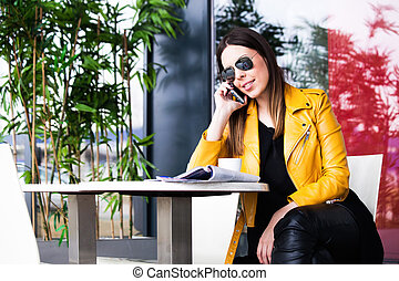 urban girl in cafe outdoor city life concept