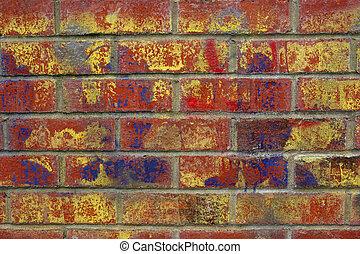 Urban Graffiti - Urban graffiti sprayed on a red brick wall.