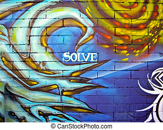 Urban grafitti with message of Solve