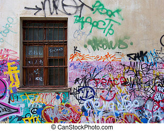 Urban grafity - Chaos on the old wall.