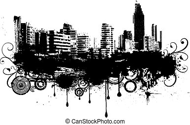 Silhouettes of buildings on grunge style background