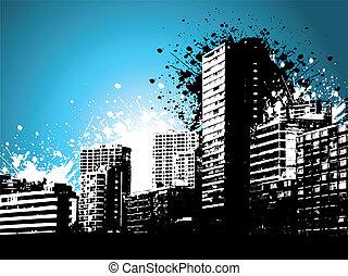 Urban grunge - Skycrapers on a grunge style background