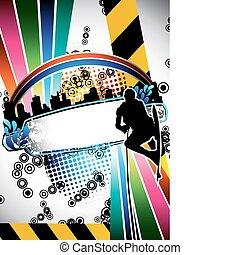 Urban grunge wake boarder poster