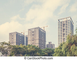 Urban High Rise Buildings Under Construction