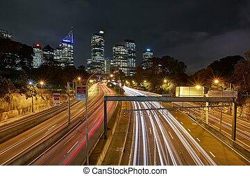 Urban highway at night
