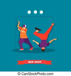 Urban hip hop dancers. Young guys dancing breakdance on a stage vector illustration in flat style design