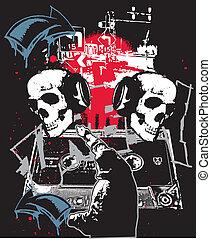 Urban Hip Hop Graffiti - Urban Skulls in hip hop city grunge...