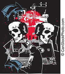 Urban HipHop Graffiti - Urban Skulls in hip hop city grunge...