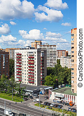 urban houses and street in Moscow in sunny day