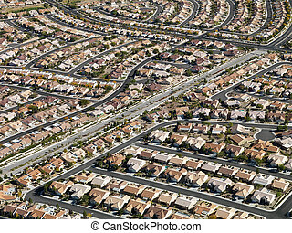 Urban housing sprawl. - Aerial view of suburban neighborhood...