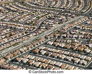 Urban housing sprawl. - Aerial view of suburban neighborhood...