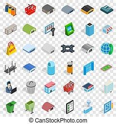 Urban icons set, isometric style