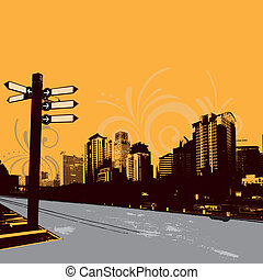 urban illustration - modern grunge urban graphic design