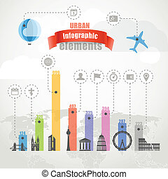 Urban infographic elements collection