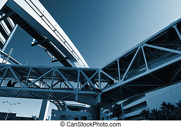 Urban infrastructure. Knot made of bridges between buildings and a monorail.
