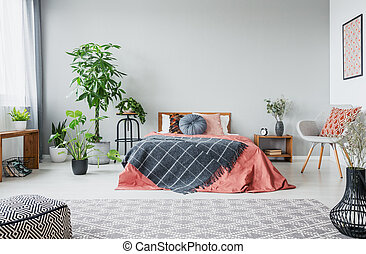 Urban jungle in modern bedroom with king size bed, comfortable grey armchair and patterned carpet, real photo with copy space on the empty wall