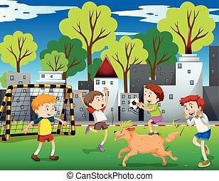 Urban kids playing football