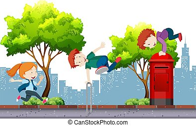 Urban Kids Street Dance in City illustration