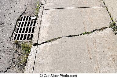 urban, knäckt, trottoar