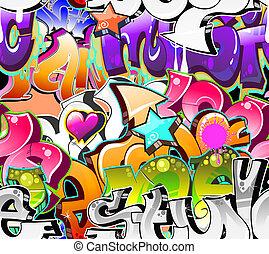 urban, konst, seamless, bakgrund., graffiti, design