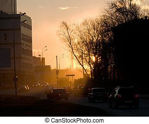urban, kväll, landskap